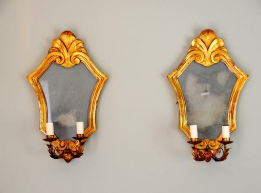 Decorative Italian Gilded Wall Mirrors Candle Sconces
