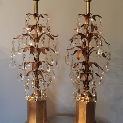 Hollywood Regency Tole and Crystal lamps