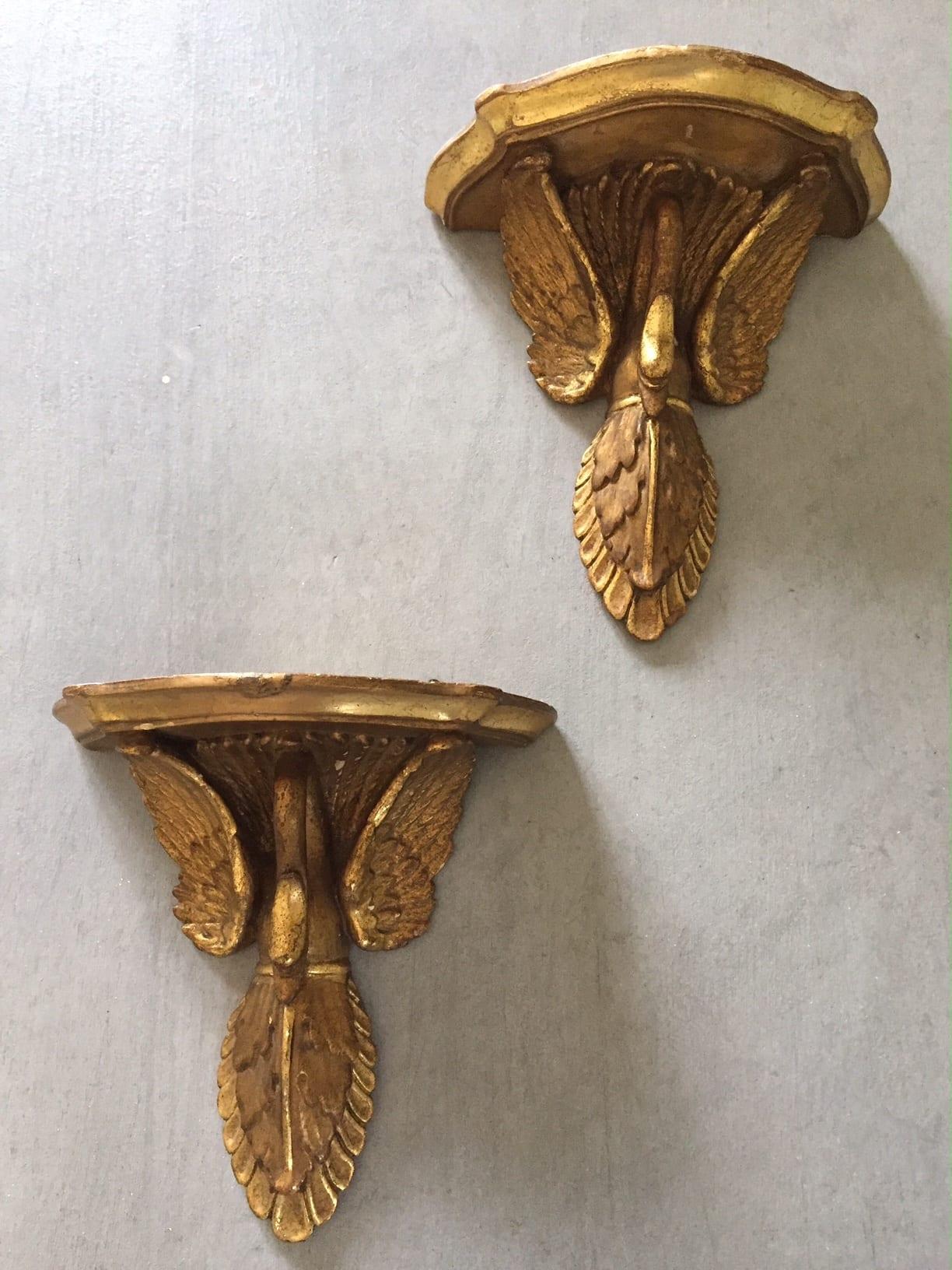 Italian Swan Designed Wall Shelf Pair – SOLD