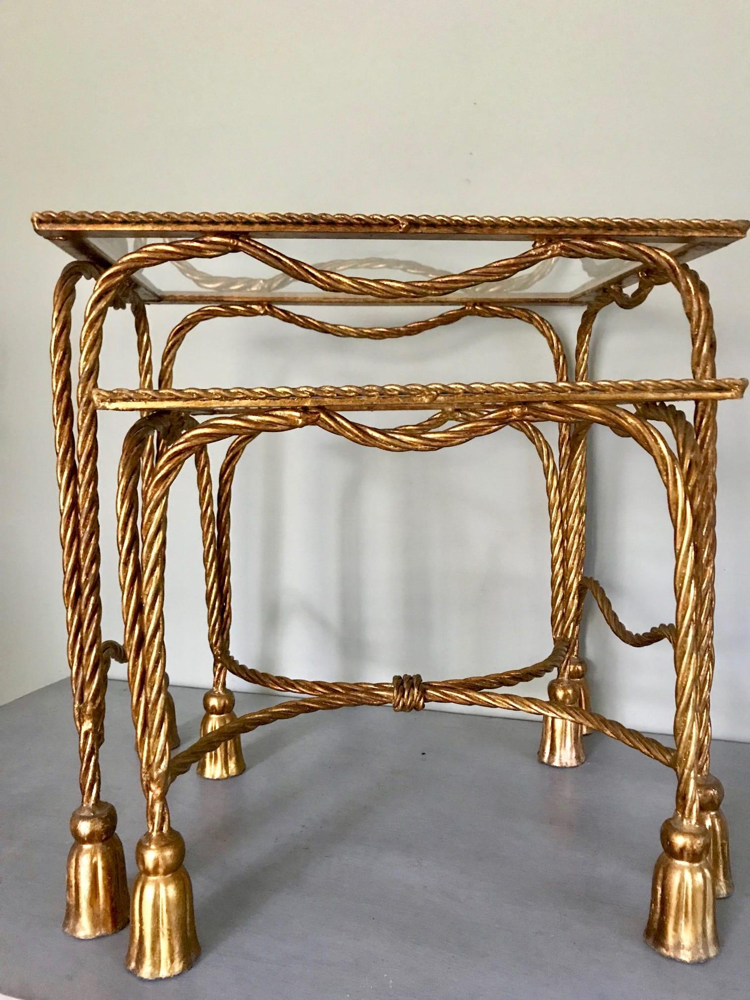 Italian Mid Century Hollywood Regency Gold Tassel Nest of Tables