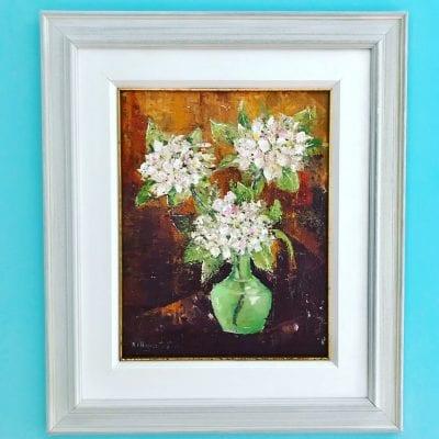 Flowers in Green Vase Main