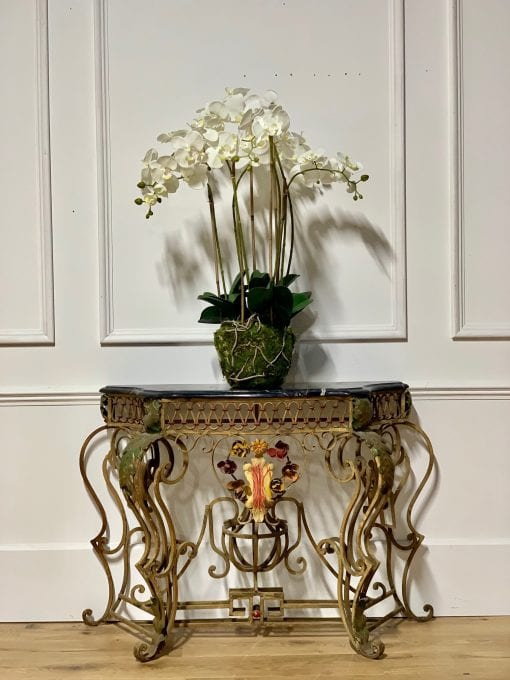 French Iron console with orchid