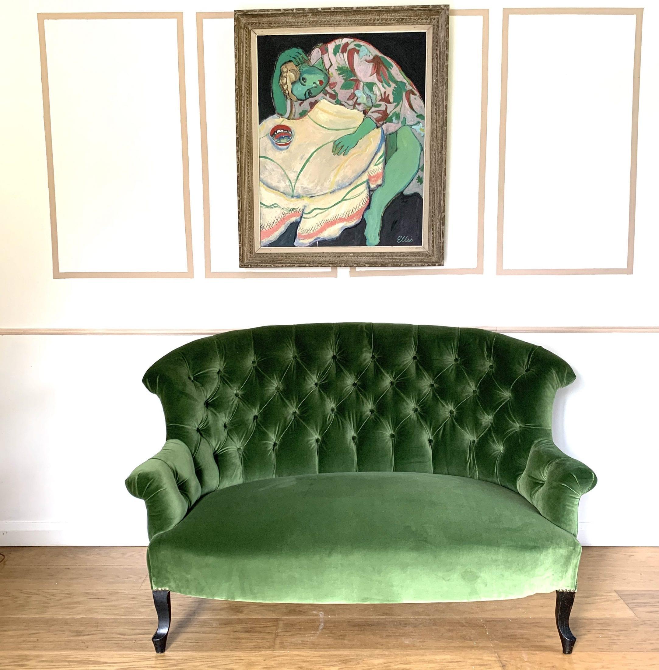 19th Century Deep Buttoned Back Velvet Sofa Sold