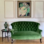 Green sofa frog and green vase