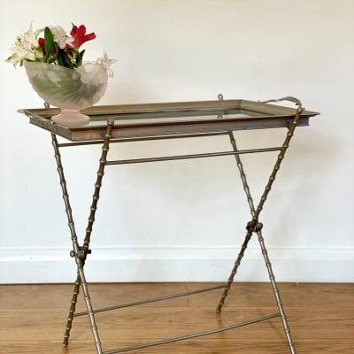 Silvered Mid Century Faux Bamboo Side Tray Table
